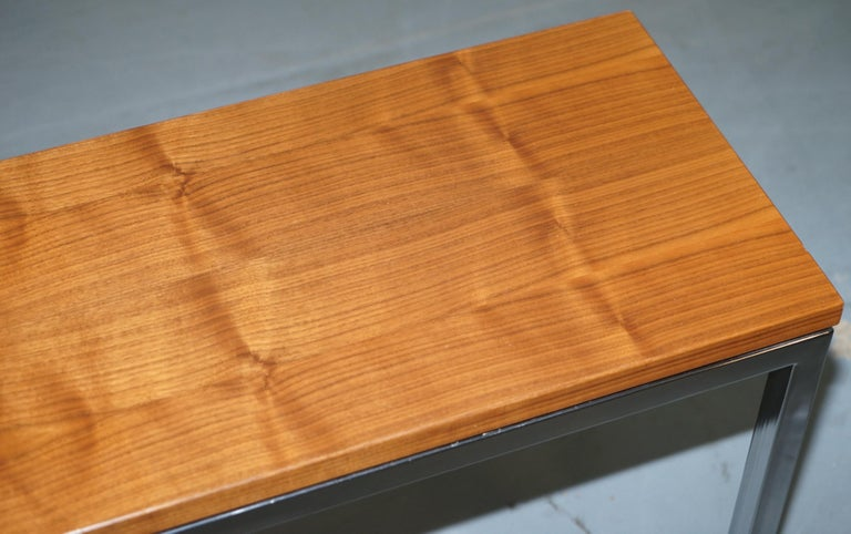 English Stunning Teak and Chrome Contemporary Small Coffee Table Midcentury Styling For Sale