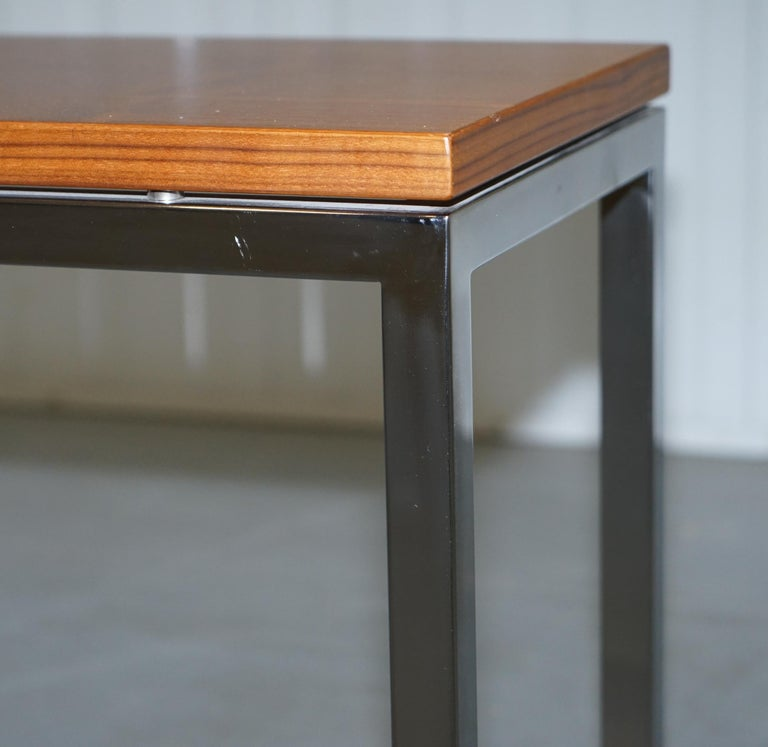 Stunning Teak and Chrome Contemporary Small Coffee Table Midcentury Styling In Good Condition For Sale In London, GB