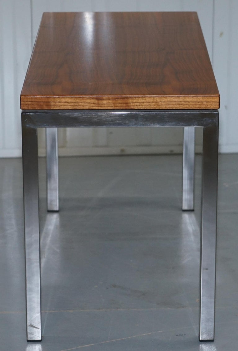 20th Century Stunning Teak and Chrome Contemporary Small Coffee Table Midcentury Styling For Sale