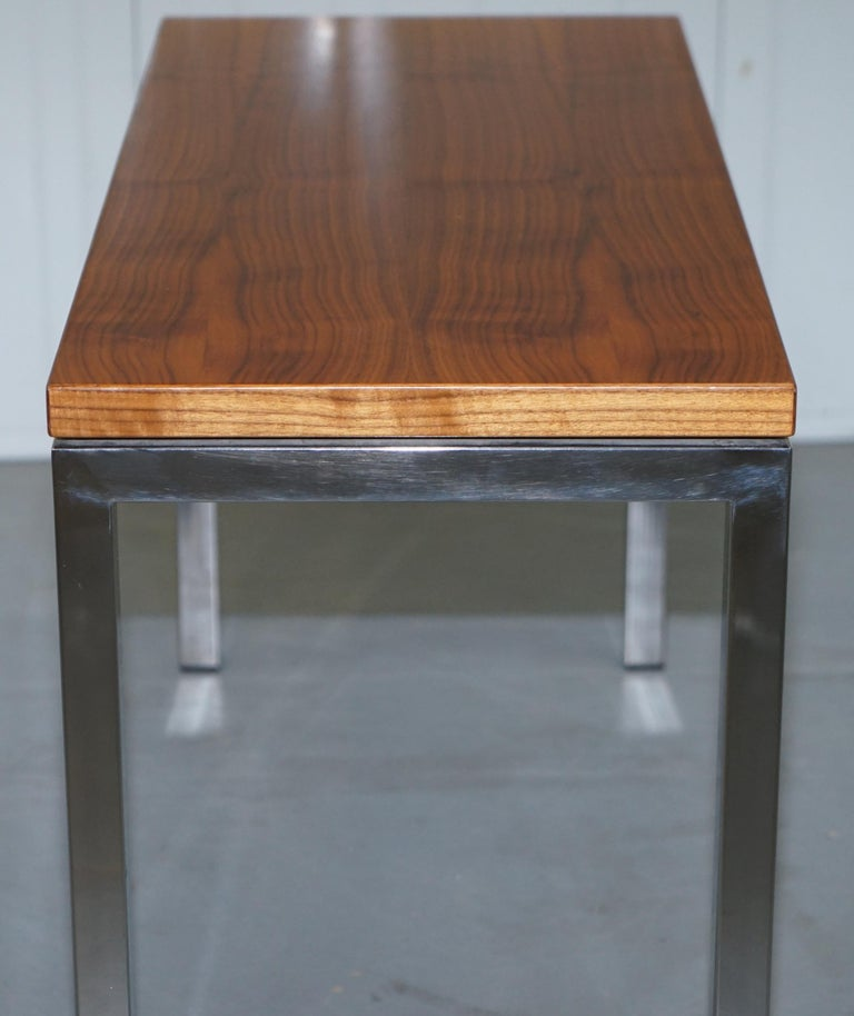 Stunning Teak and Chrome Contemporary Small Coffee Table Midcentury Styling For Sale 1