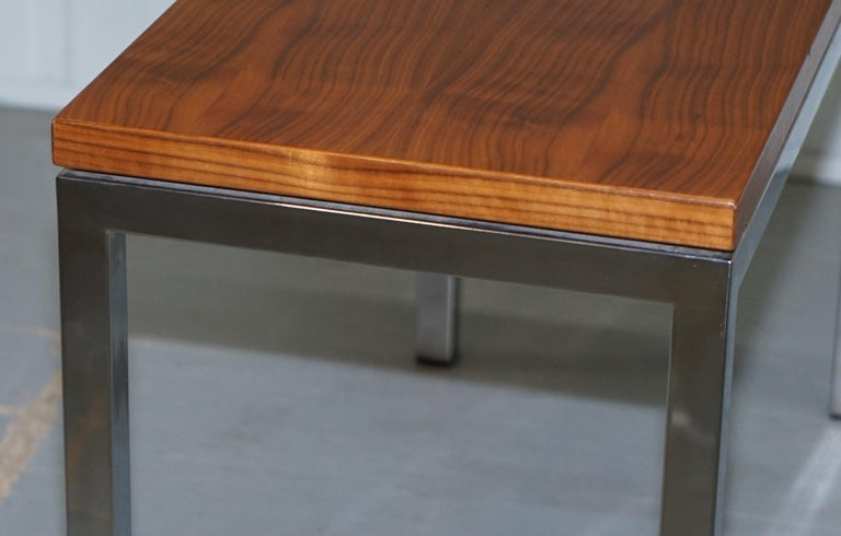 Stunning Teak and Chrome Contemporary Small Coffee Table Midcentury Styling For Sale 2