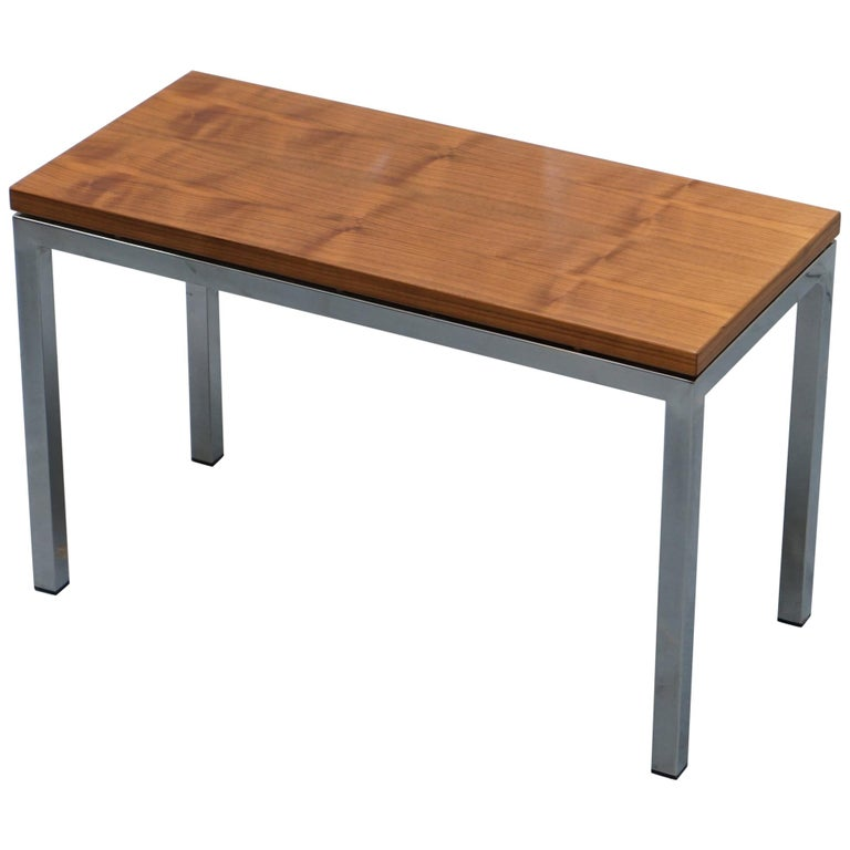 Stunning Teak and Chrome Contemporary Small Coffee Table Midcentury Styling For Sale