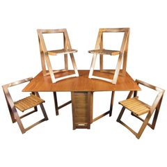 Stunning Teak Midcentury Drop-Leaf Table with Chairs