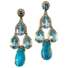 Stunning Teardrop Turquoise and Blue Topaz Chandelier Vermeil Earrings