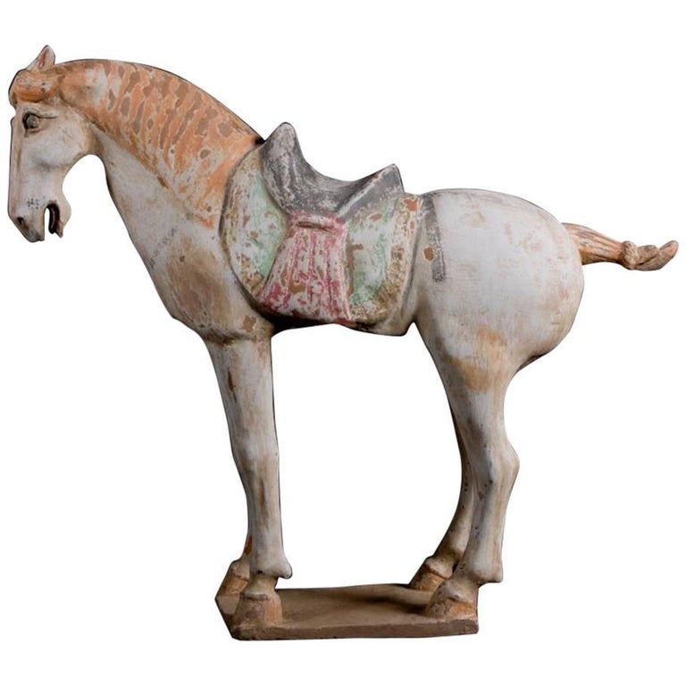Stunning Terracotta Standing Horse, Tang Dynasty, China '618-907 AD', TL Test For Sale
