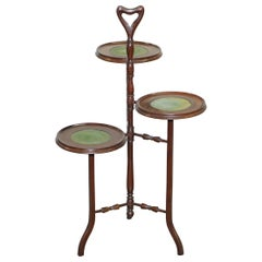 Stunning Three-Tiered Mahogany and Green Leather Whatnot Side Table Plant Stand