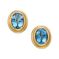 Stunning Tiffany & Co. 18 Karat Set of Aquamarine Yellow Gold Earrings