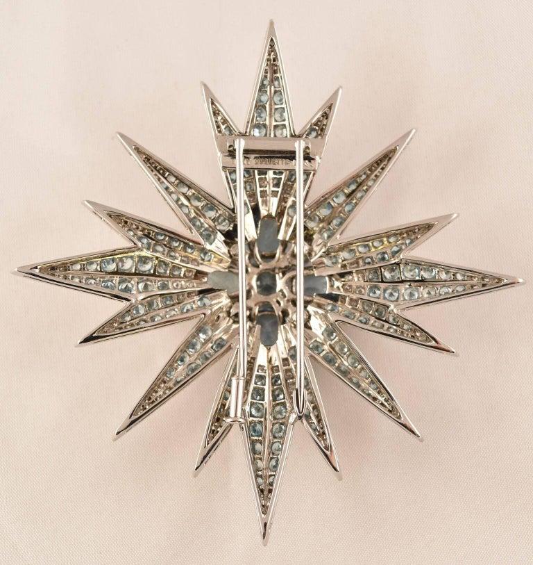 "Beautiful Aquamarine, Blue Zircon and Diamond Statement Brooch, hand crafted in 18k Gold by Tony Duquette, Designer Extraordinaire! Aquamarine (app. 14.20ct); Blue Zircon (app. 16ct); Diamond (app. 2.87ct);  3.63"" long x 3.50"" wide; Signed: TONY"