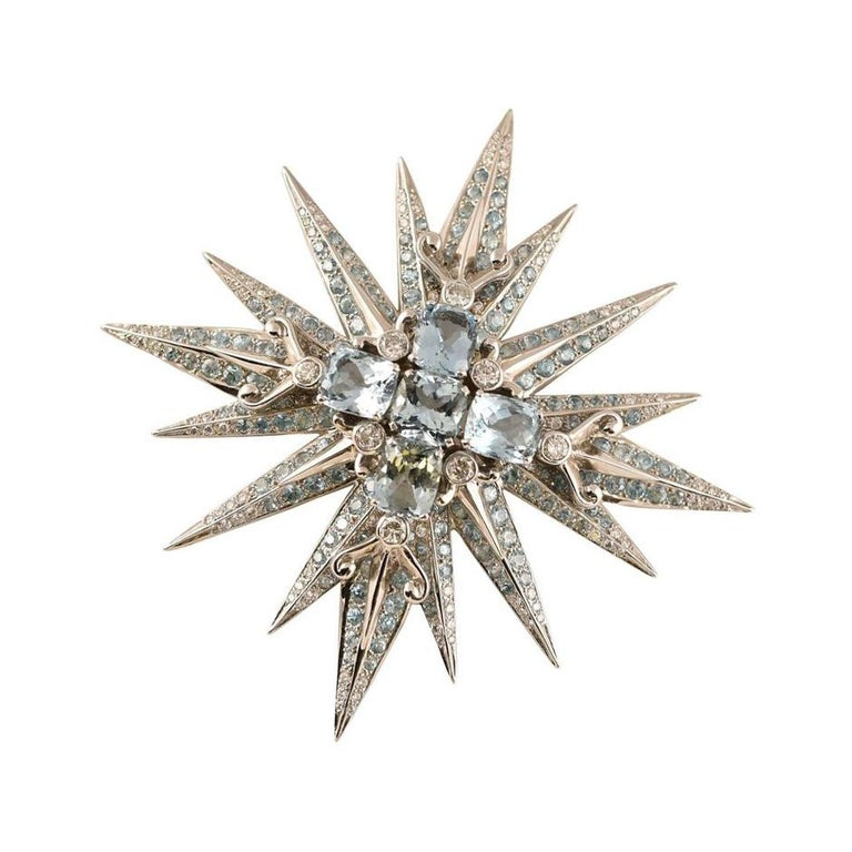Stunning Tony Duquette Aquamarine, Blue Zircon and Diamond Gold Brooch Pin In New Condition For Sale In Montreal, QC