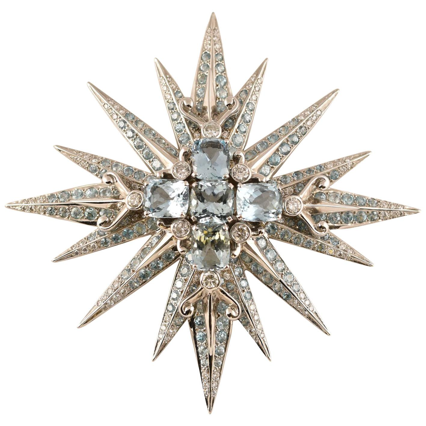Stunning Tony Duquette Aquamarine, Blue Zircon and Diamond Gold Brooch Pin