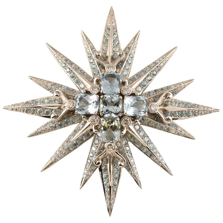 Stunning Tony Duquette Aquamarine, Blue Zircon and Diamond Gold Brooch Pin For Sale
