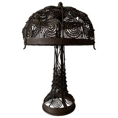 Stunning & Top Quality Hand Forged Wrought Iron Arts & Crafts Table Lamp 1910