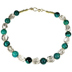 Stunning Turquoise and Faceted Quartz Crystal Necklace