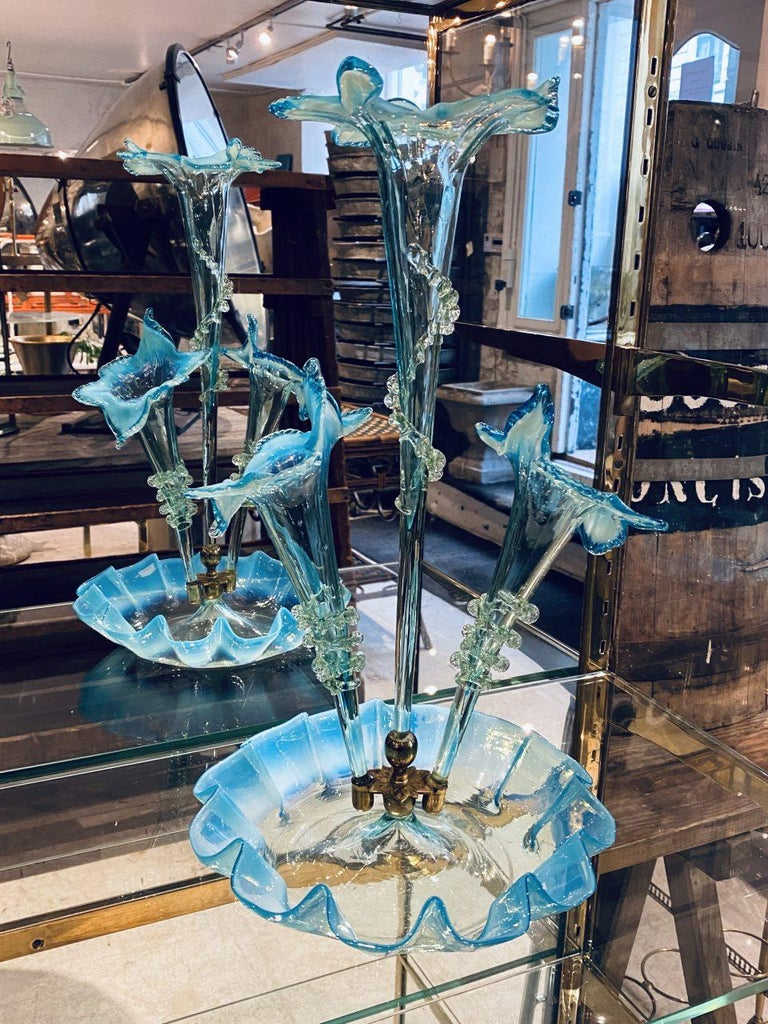20th Century Stunning Turquoise Murano Glass Vase Centerpiece, 1950s For Sale