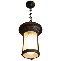 Stunning Two-Tone Brass with Hand Engraved Glass Arts & Crafts Pendant Light