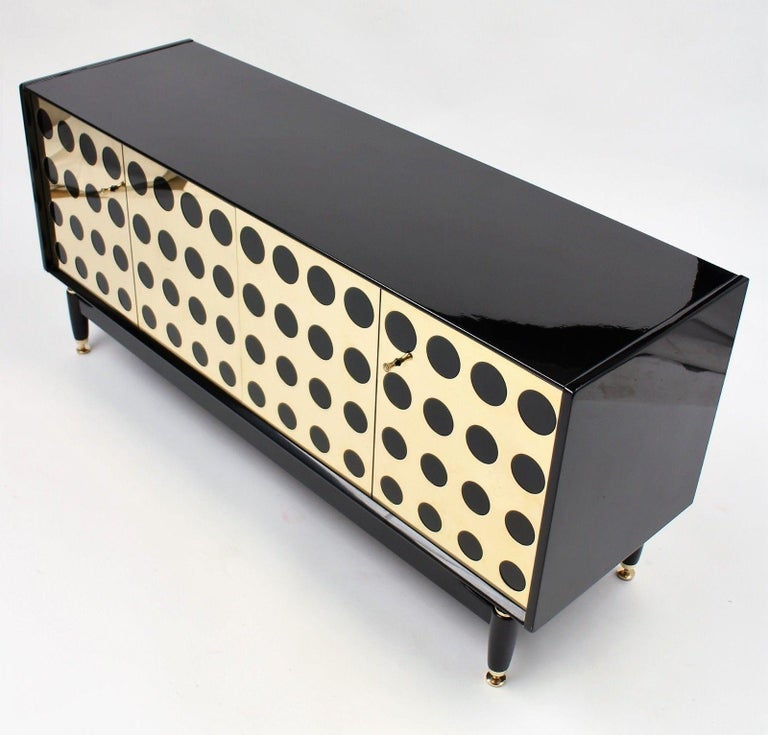 Stunning Upcycled G Plan Sideboard, Retro Credenza with Brass Detail Design For Sale 4