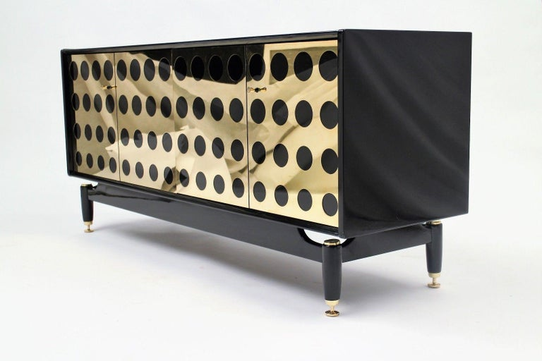 Lacquered Stunning Upcycled G Plan Sideboard, Retro Credenza with Brass Detail Design For Sale