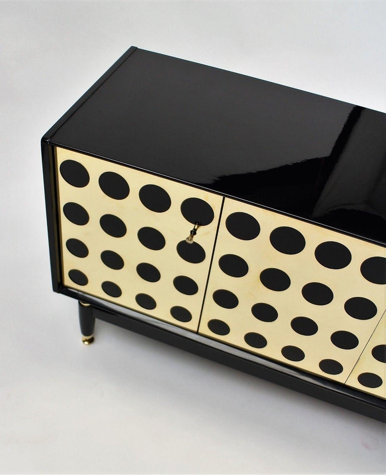 Stunning Upcycled G Plan Sideboard, Retro Credenza with Brass Detail Design In Excellent Condition For Sale In Hudson, NY