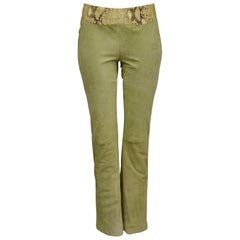 Stunning Versace Green & Snake Print Suede & Leather Pants