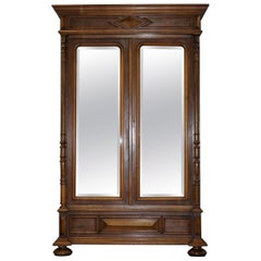 Stunning Very Grand circa 1860 French Walnut Mirrored Door Armoire Wardrobe