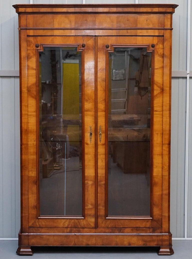 Victorian Grand Swedish Biedermeier Cherry Wood Armoire Wardrobe, circa 1880 For Sale