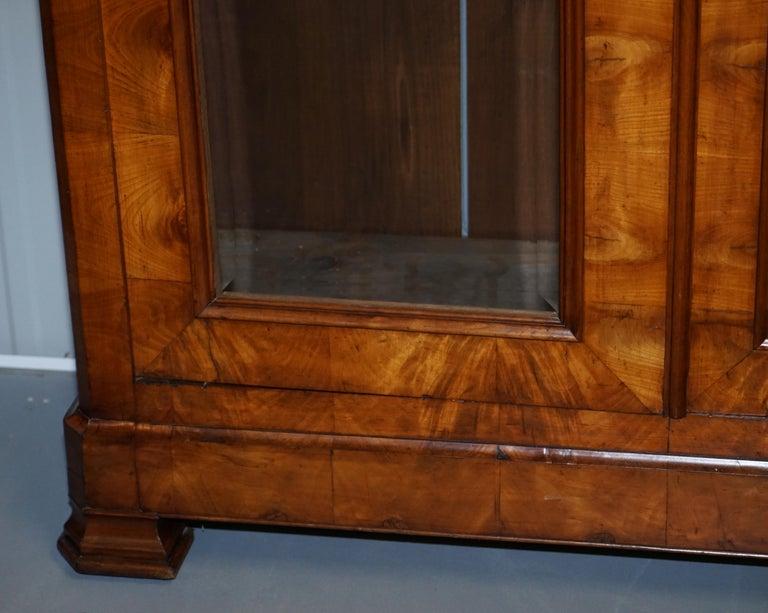 Glass Grand Swedish Biedermeier Cherry Wood Armoire Wardrobe, circa 1880 For Sale