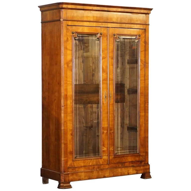 Grand Swedish Biedermeier Cherry Wood Armoire Wardrobe, circa 1880 For Sale