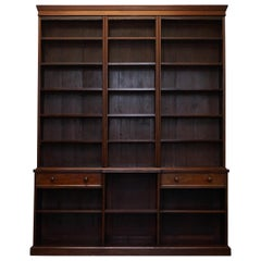 Stunning Very Large Tall Victorian Mahogany Library Breakfront Bookcase