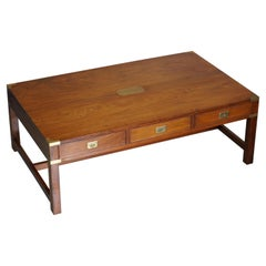 Stunning Very Large Three Drawer Harrods Kennedy Military Campaign Coffee Table