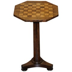 Stunning Victorian 1860 Redwood Pedestal Chess Games Checkers Backgammon Table
