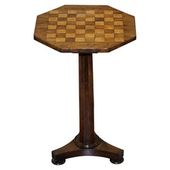 Stunning Victorian 1860 Rosewood Pedestal Chess Games Checkers Backgammon Table