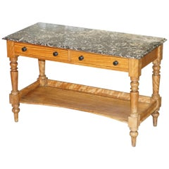 Stunning Victorian 1880 Marble Topped Satinwood Console or Writing Table Desk