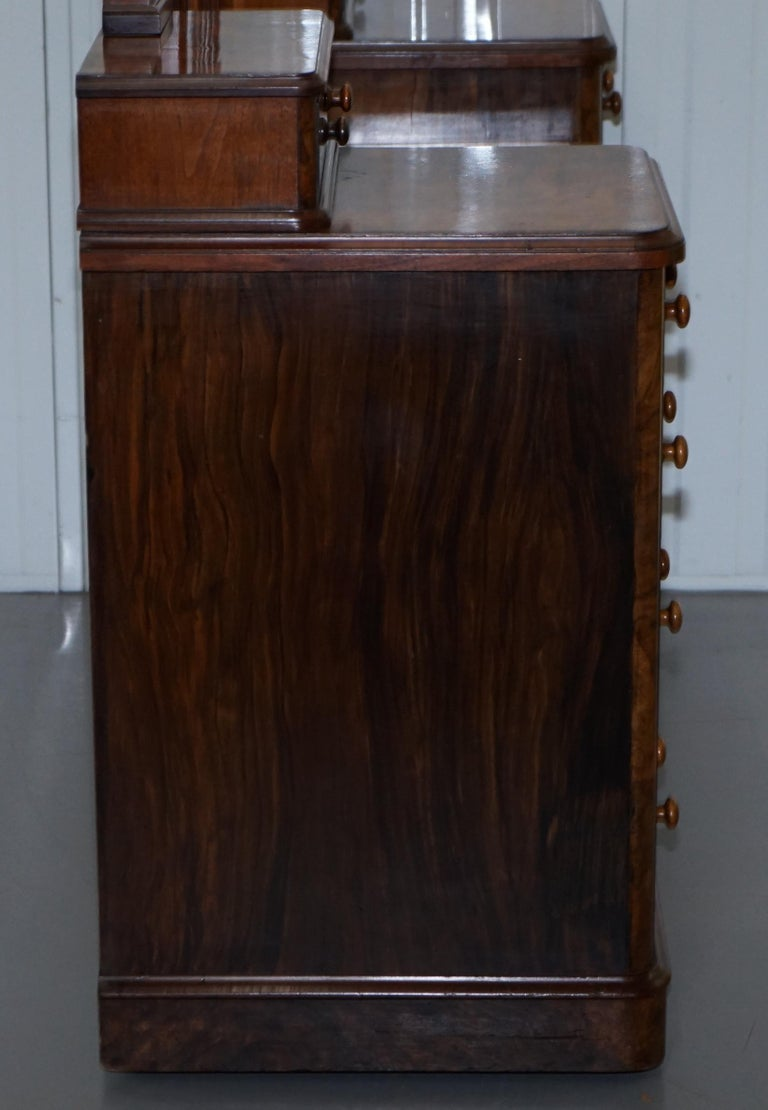 Stunning Victorian Collinge's Burr Walnut Dressing Table with Drawers and Mirror For Sale 12