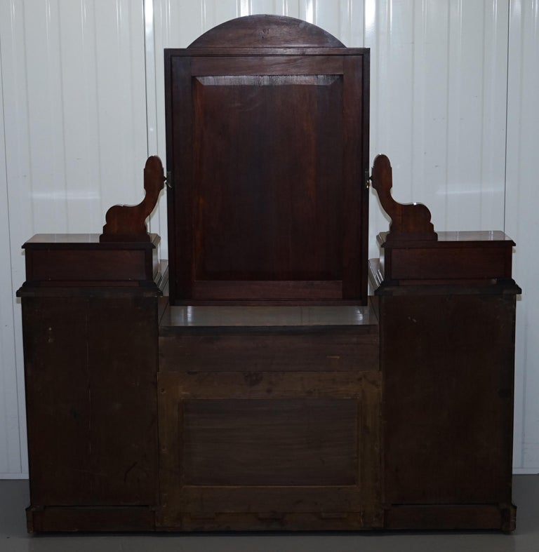 Stunning Victorian Collinge's Burr Walnut Dressing Table with Drawers and Mirror For Sale 14