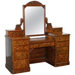 Stunning Victorian Collinge's Burr Walnut Dressing Table with Drawers and Mirror