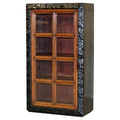 Stunning Victorian Ebonised Carved Wood Display Cabinet Glazed Door Very Rare