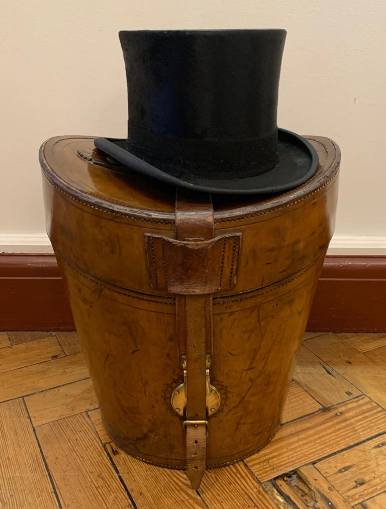 49a11d663fe1d Stunning Victorian English Leather Gentleman s Triple Top Hat Box .