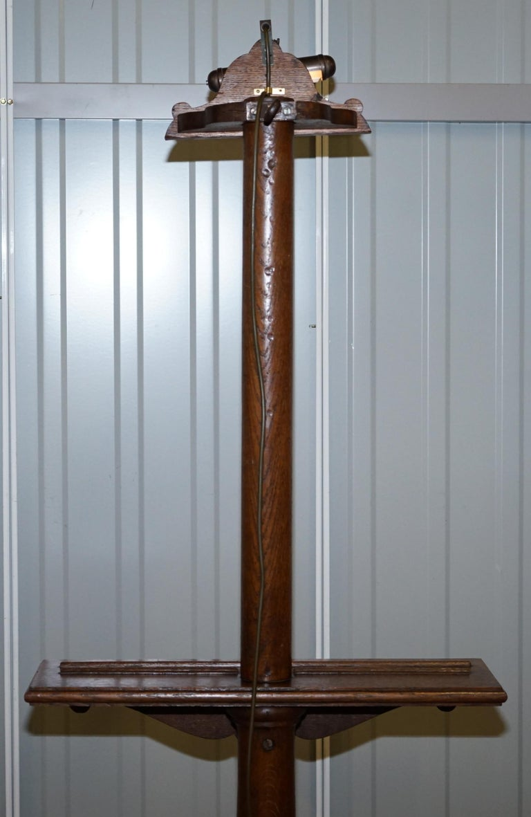 Stunning Victorian Hand Carved Painting Easel with Display Light for Artists For Sale 12