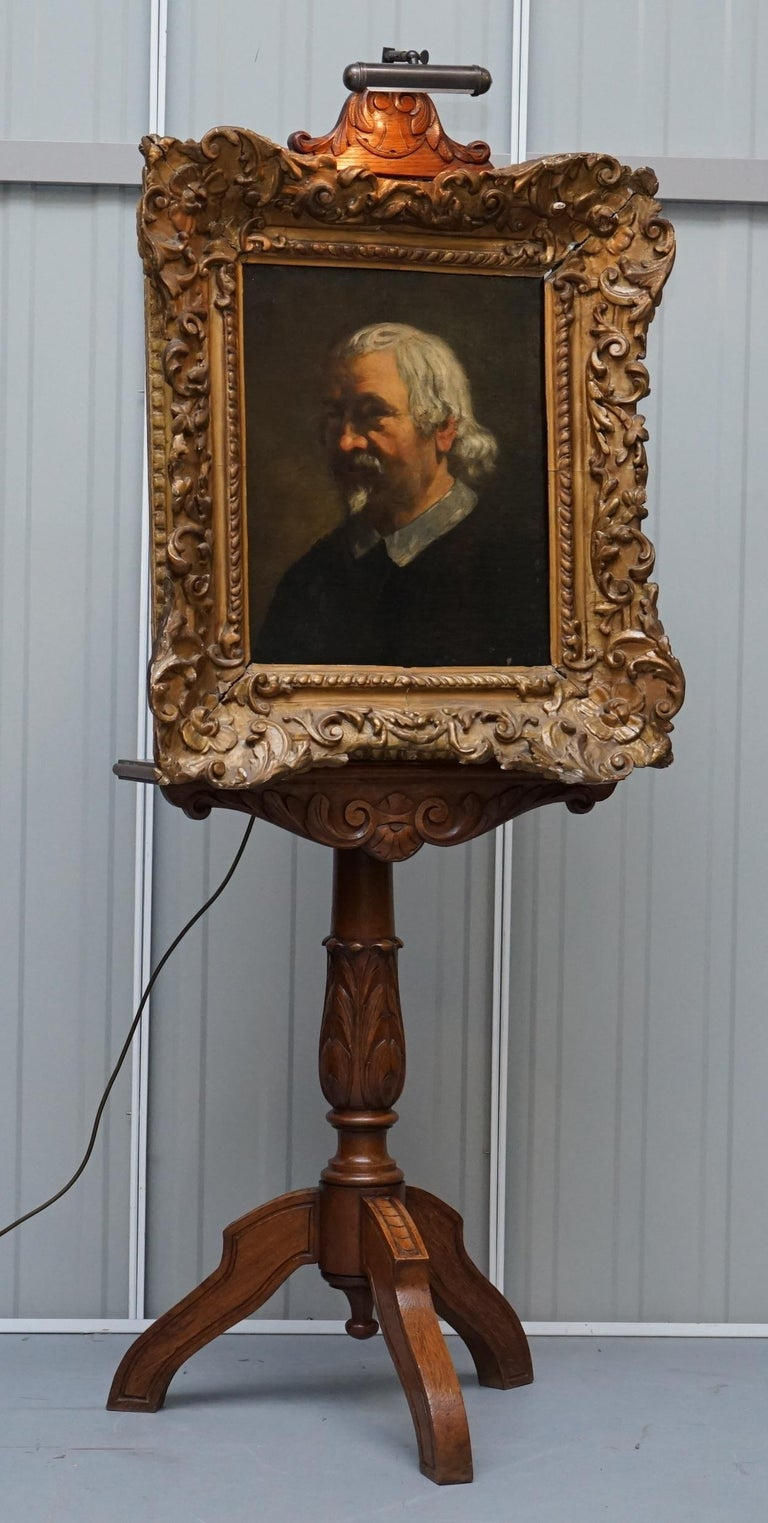 We are delighted to offer for sale this very rare original late Victorian hand carved mahogany artist painting easel with art deco era light  Wow… what a find, I bought this from a Gent in Belgium, I was picking up some rather lovely Regency brass