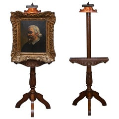 Stunning Victorian Hand Carved Painting Easel with Display Light for Artists