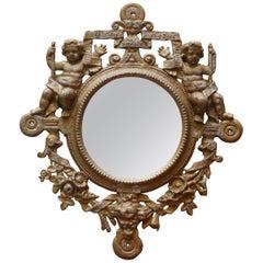 Stunning Victorian Heavy Metal Wall Mirror Armorial Crest Cherub Puttie Angels