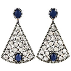 Stunning Victorian Looking Polki Diamond with Cabochon Sapphire Dangling Earring
