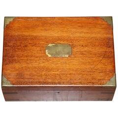 Stunning Victorian Mahogany Military Campaign Box, Cigars, Jewellery, Trinkets