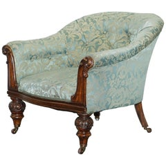 Stunning Victorian Redwood and Silk Upholstered Chesterfield Button Tub Armchair