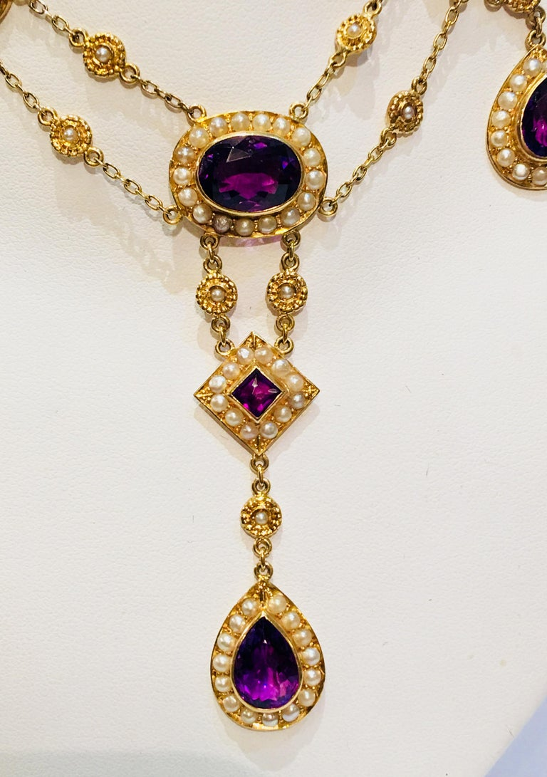 Victorian Stunning Vintage Siberian Amethyst Pearl Yellow Gold Chandelier Necklace For Sale