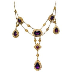 Stunning Vintage Siberian Amethyst Pearl Yellow Gold Chandelier Necklace