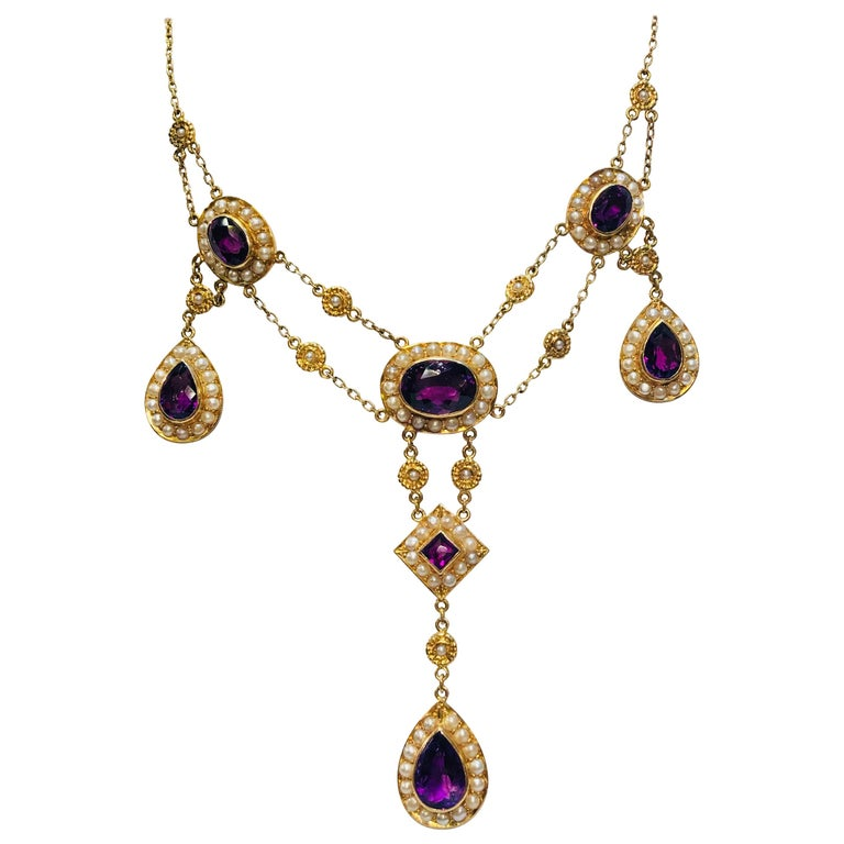 Stunning Vintage Siberian Amethyst Pearl Yellow Gold Chandelier Necklace For Sale