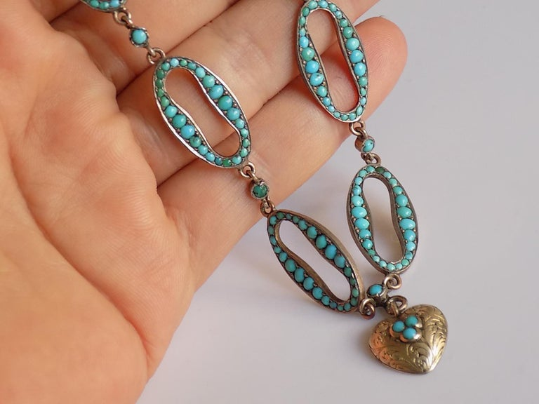 Stunning Victorian Turquoise Silver Heart Love Necklace For Sale 6