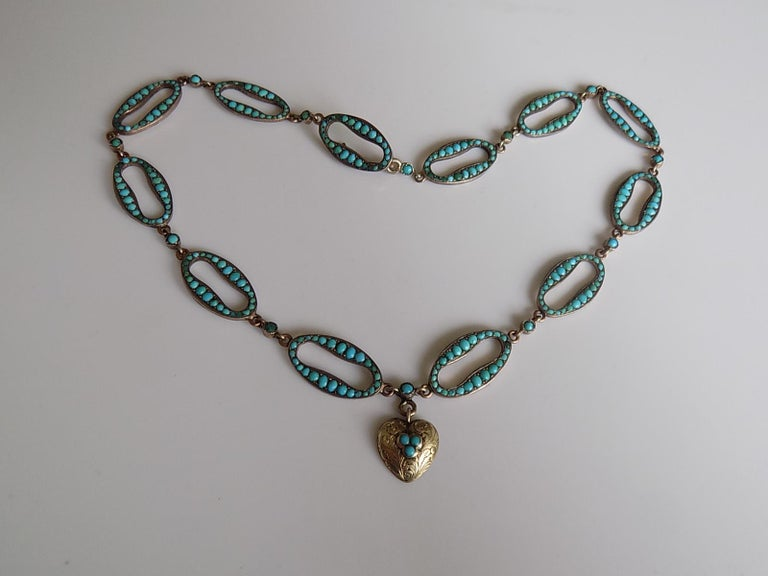 An Extremely rare and outstanding looking Victorian c.1880 Silver Gilt and Turquoise link designed necklace with a heart shaped pendant and hook fastener. The Turquoise stones in pave setting. Ideal as everyday or special occasion piece.  Total
