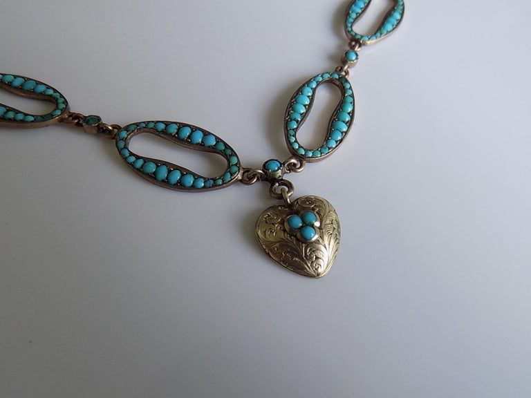 Stunning Victorian Turquoise Silver Heart Love Necklace In Good Condition For Sale In Boston, Lincolnshire